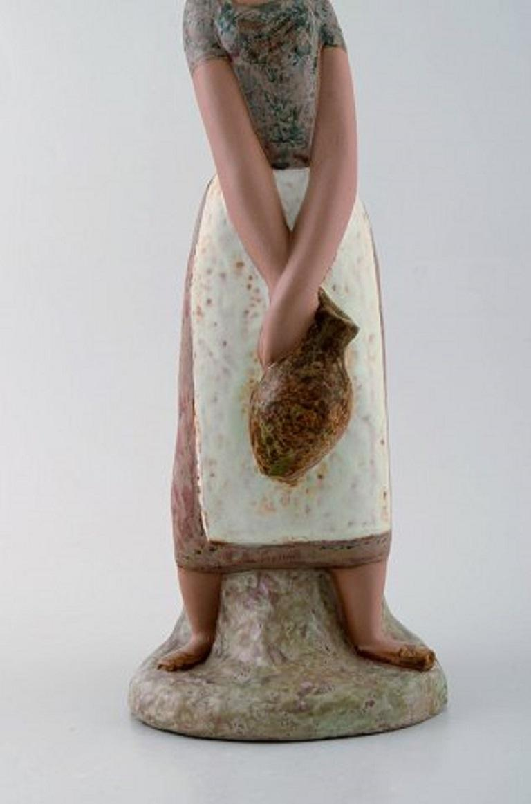 20th Century Lladro, Spain, Large Figure in Glazed Ceramics, Woman Carrying Water For Sale