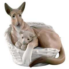 Lladro, Spain, Large Figure in Glazed Porcelain, German Shepherd with Pup