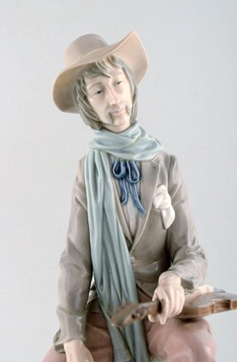 Spanish Lladro, Spain, Large Porcelain Figure, Troubadour, 1980s-1990s For Sale