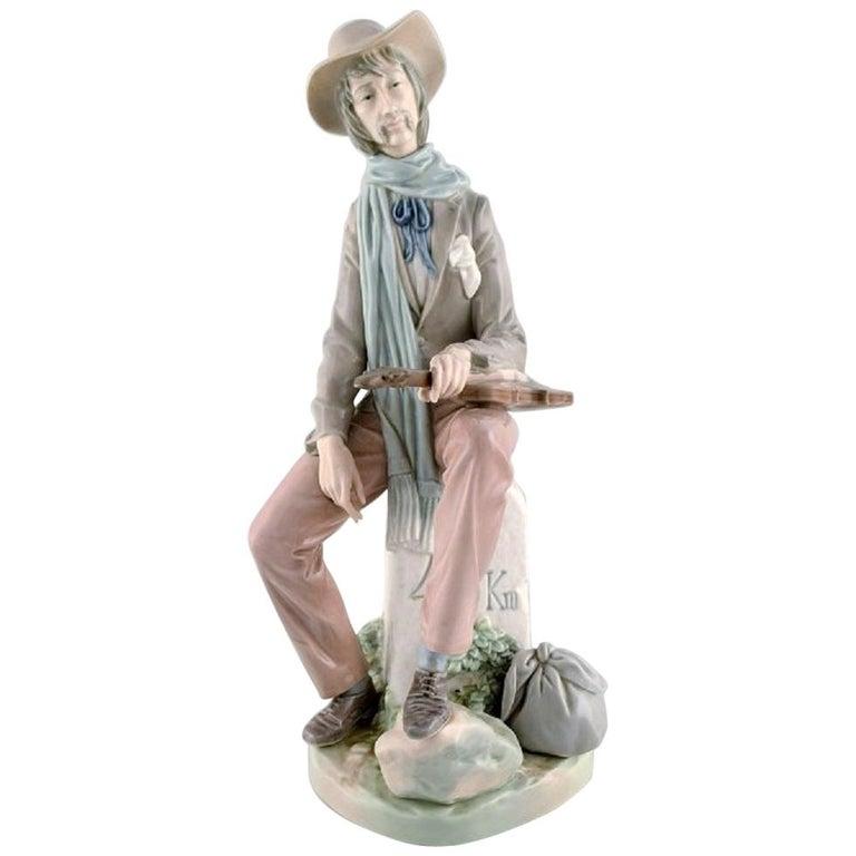 Lladro, Spain, Large Porcelain Figure, Troubadour, 1980s-1990s For Sale