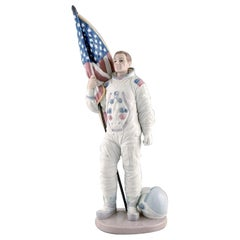 Lladro, Spain, Large Rare Figure in Glazed Porcelain, Neil Armstrong