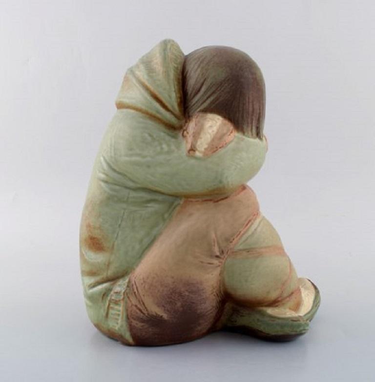 Late 20th Century Lladro, Spain, Large Sculpture in Glazed Ceramics, Eskimo Girl, 1980s For Sale