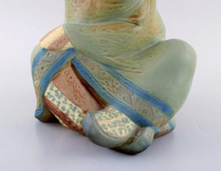 Spanish Lladro, Spain, Large Sculpture in Glazed Ceramics, Sitting Girl, 1980s For Sale