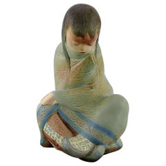 Lladro, Spain, Large Sculpture in Glazed Ceramics, Sitting Girl, 1980s