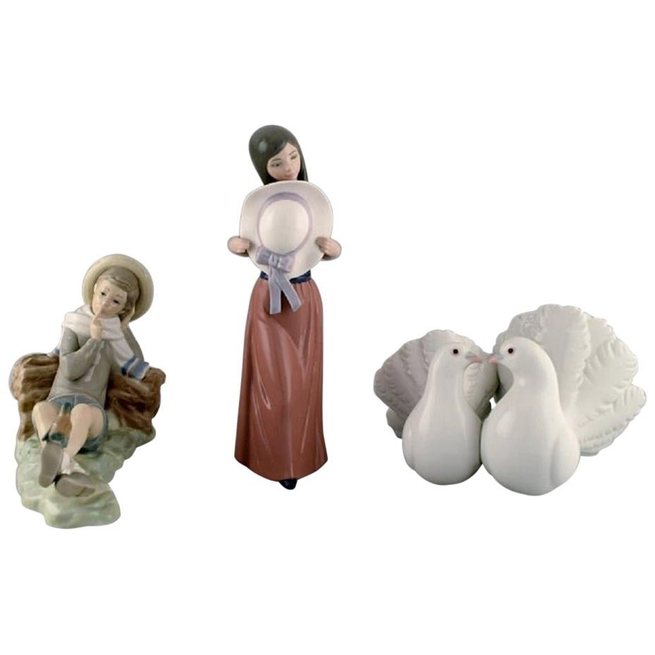 Lladro, Spain, Three Porcelain Figurines, 1970s-1980s