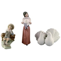 Lladro, Spain, Three Porcelain Figurines, 1970s-1980s