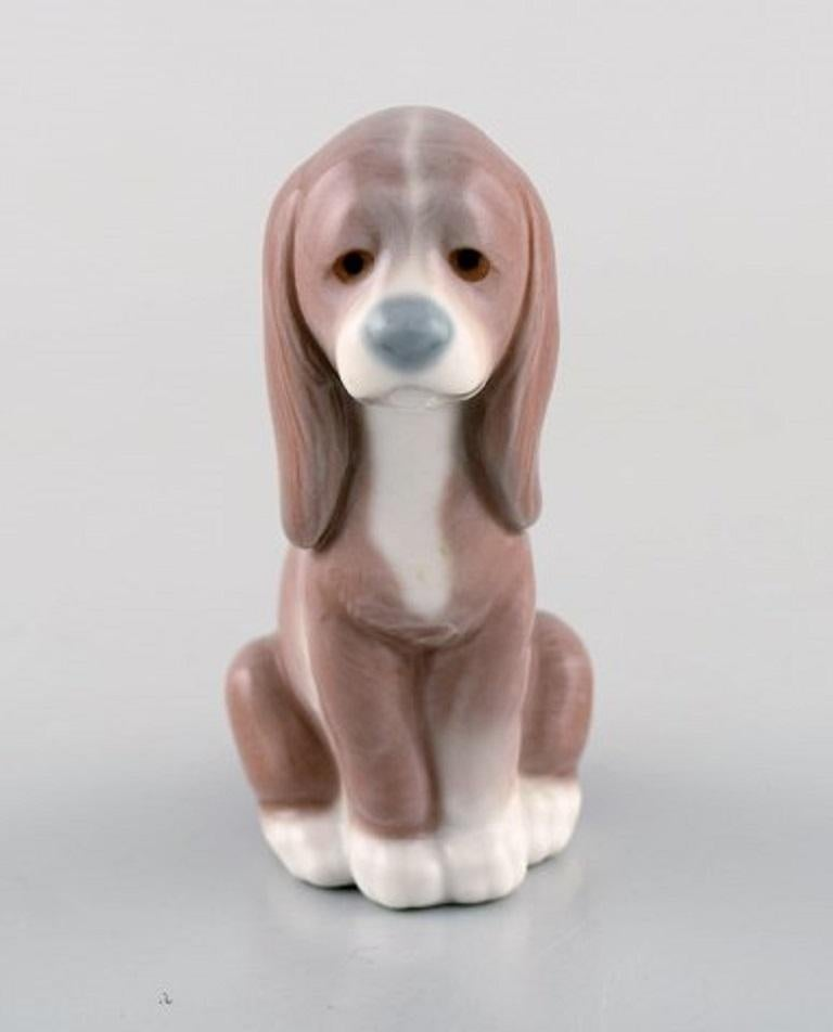 20th Century Lladro, Spain, Three Porcelain Figurines, Sleeping Dog and Two Puppies For Sale