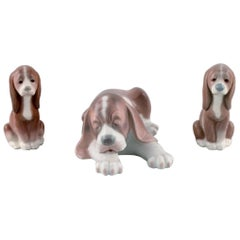 Lladro, Spain, Three Porcelain Figurines, Sleeping Dog and Two Puppies