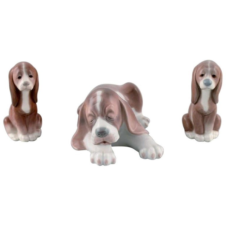 Lladro, Spain, Three Porcelain Figurines, Sleeping Dog and Two Puppies For Sale