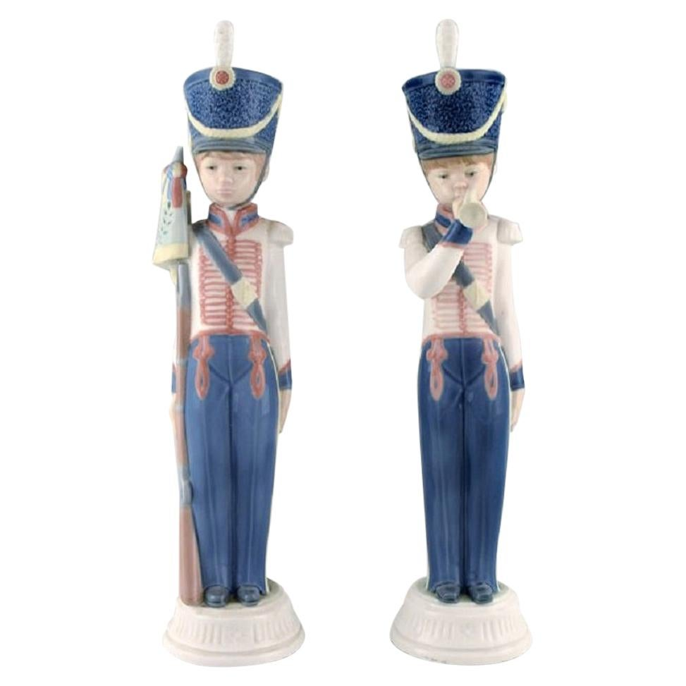 Lladro, Spain, Two Porcelain Figurines, Guard Boys, 1980s-1990s