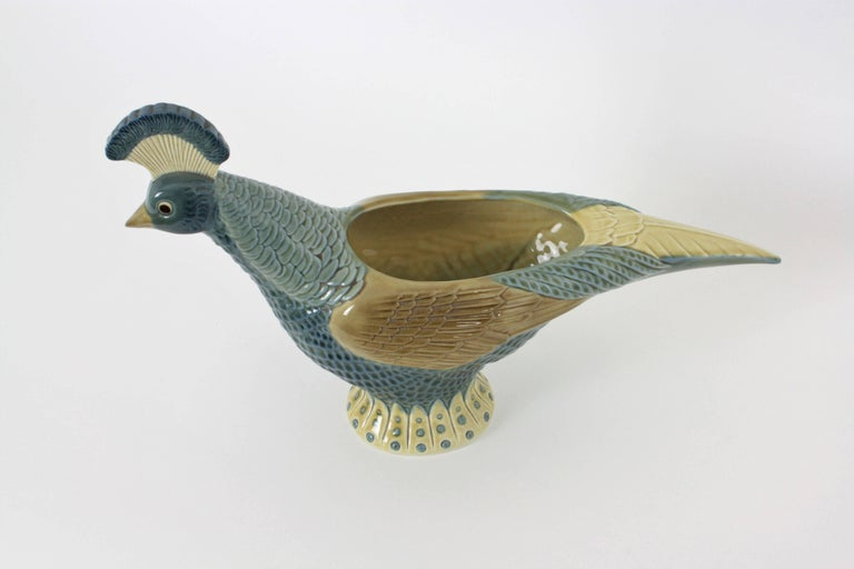 Lladro Spanish Porcelain Pheasant Centerpiece Vase, 1970s In Good Condition For Sale In Barcelona, ES