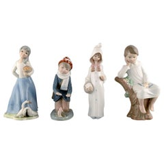 Lladro, Tengra and Zaphir, Spain, Four Porcelain Figurines of Children