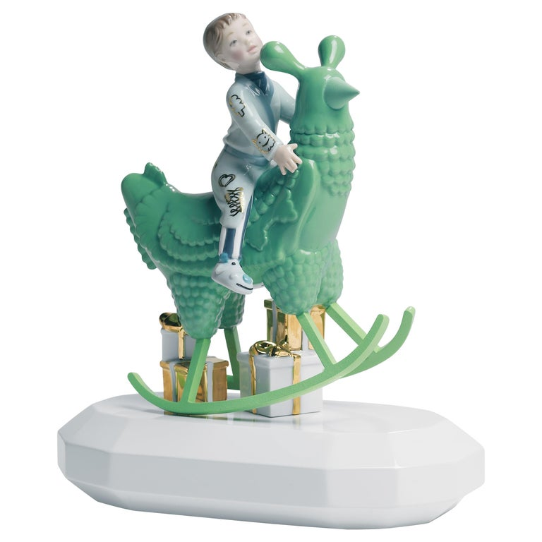 Lladro The Rocking Chicken Ride Figurine in Green by Jaime Hayon For Sale