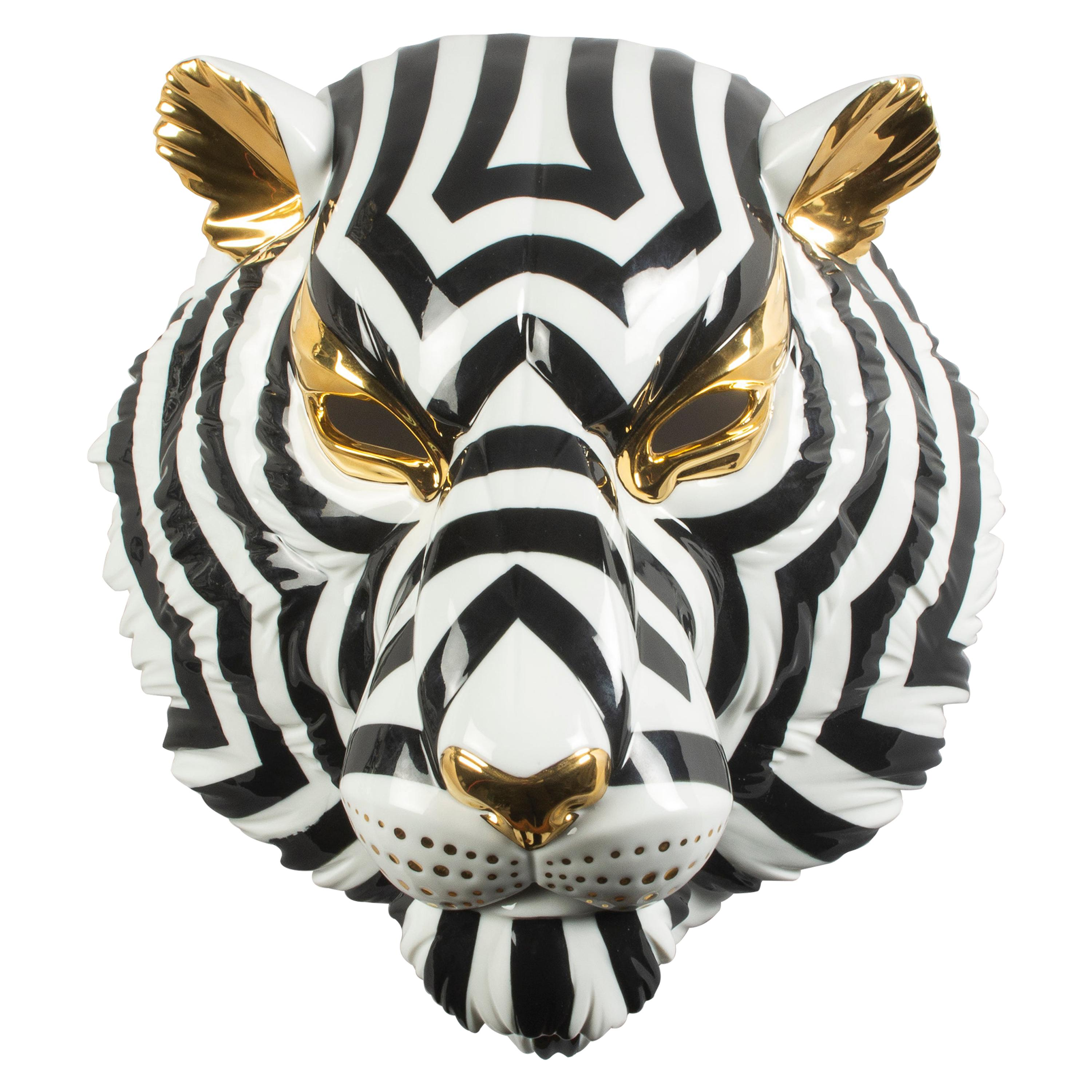 Lladro Tiger Mask in Black and Gold by José Luis Santes