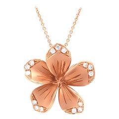 LLK Designer Diamond Plumeria Flower Pendant in 14 Karat Rose Gold