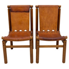 Llmari Tapiovaara Mid-Century Modern Italian Leather Dining Chairs 50s, Pair