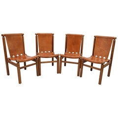 Llmari Tapiovaara Mid-Century Modern Italian Leather Dining Chairs 50s, Set of 4