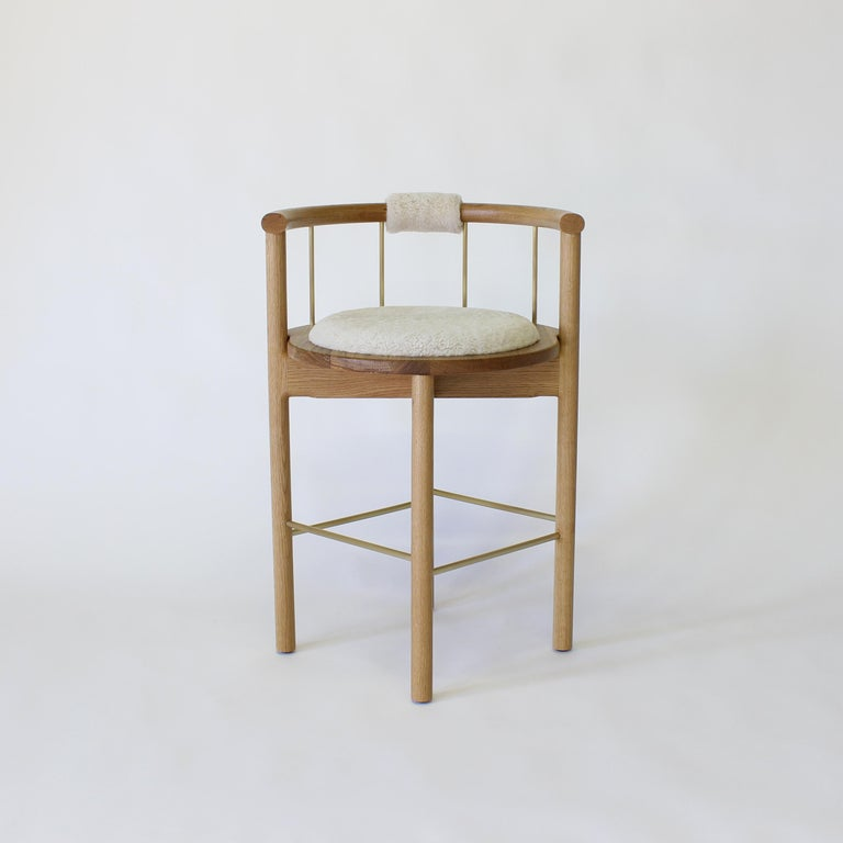 American Lloyd Bar Stool with Leather or Shearling Cushion For Sale