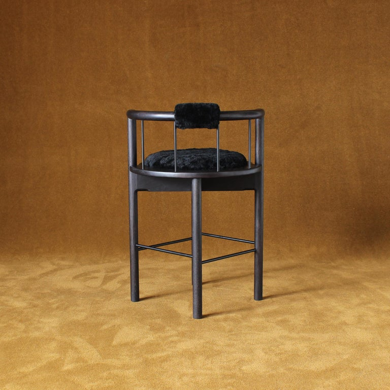 Blackened Lloyd Bar Stool with Leather or Shearling Cushion For Sale