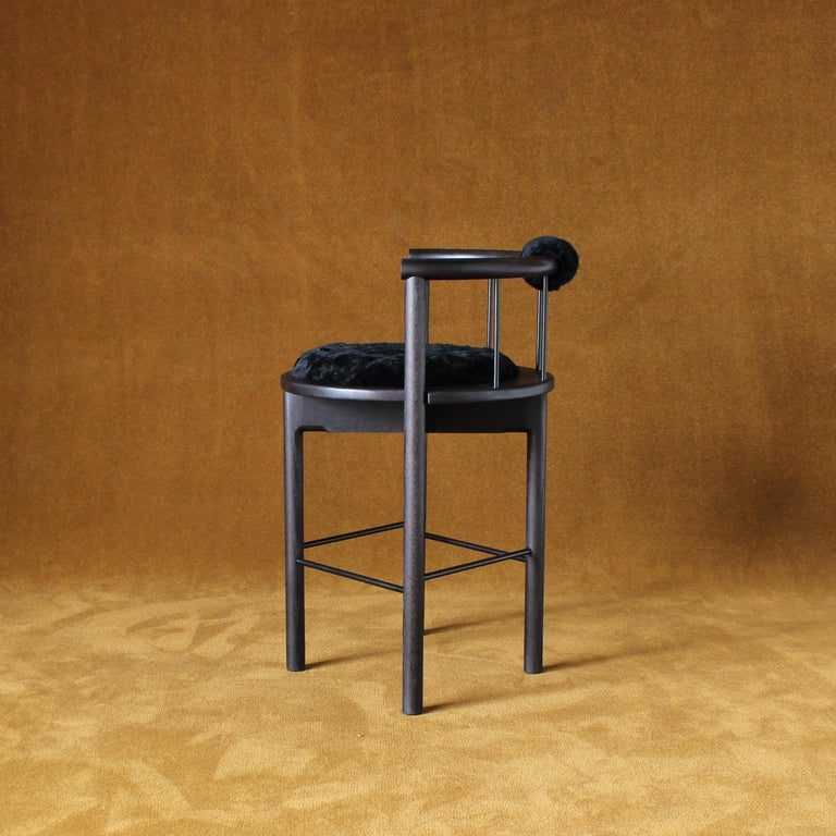 Lloyd Bar Stool with Leather or Shearling Cushion In New Condition For Sale In Baltimore City, MD