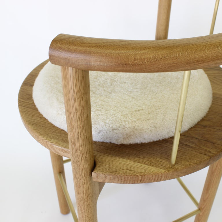 Contemporary Lloyd Bar Stool with Leather or Shearling Cushion For Sale