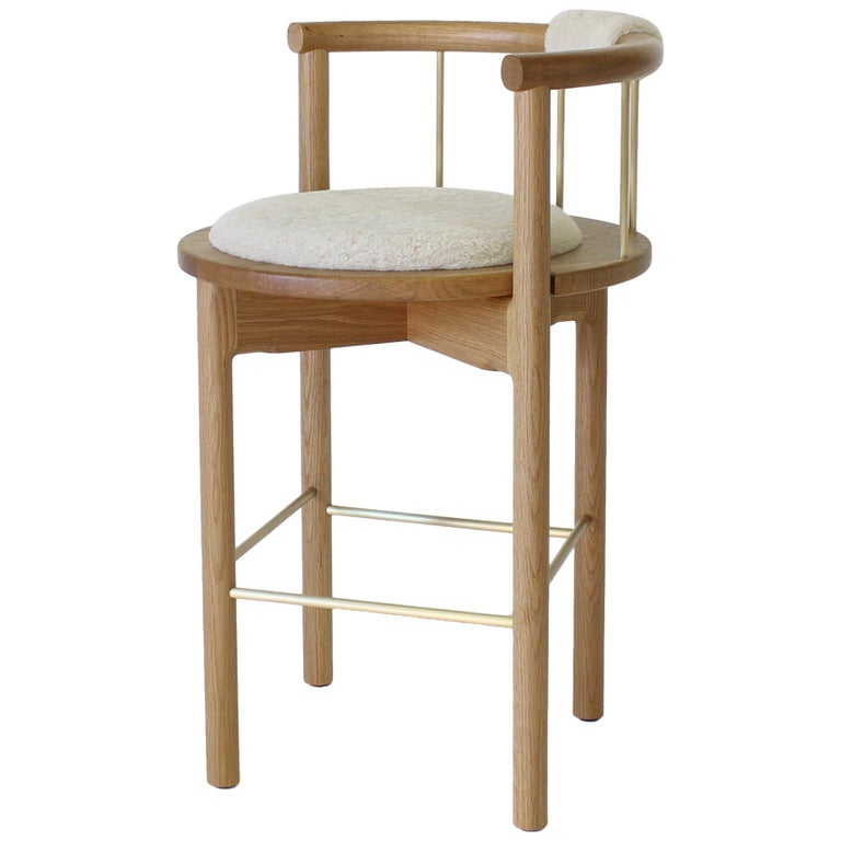 Lloyd Bar Stool with Leather or Shearling Cushion For Sale