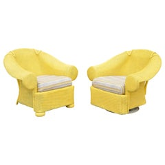 Lloyd Flanders Loom Yellow Wicker Large Oversize Sunroom Lounge Chairs, a Pair