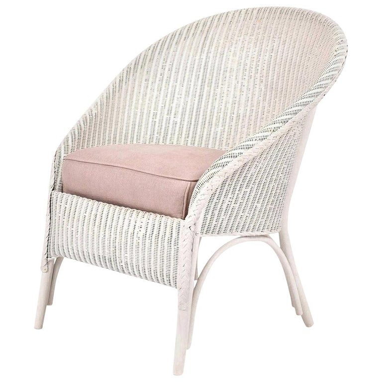Lloyd Loom Style White Painted Wicker Chair For Sale 8