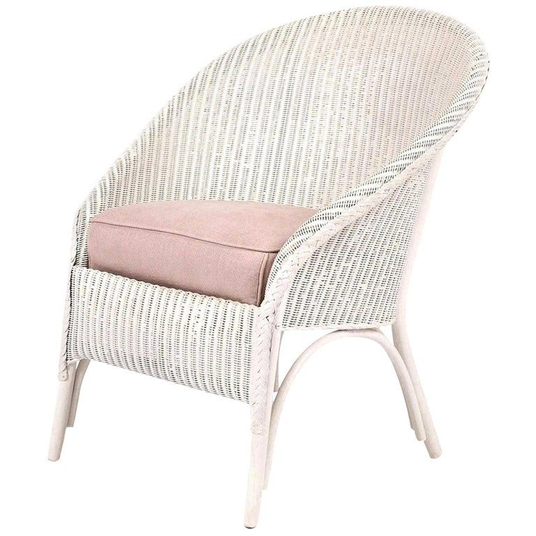 Lloyd Loom Style White Painted Wicker Chair For Sale 9