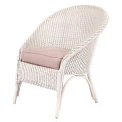 Lloyd Loom Style White Painted Wicker Chair
