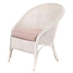 Lloyd Loom Style White Painted Wicker Chair