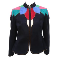 Lloyd Williams Ultra Suede Patchwork Jacket Skirt Suit, 1980's