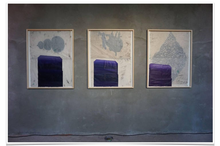 BCN Triptych, Oil, Chinese Ink and Graphite on Nepalese Mitsumata Paper, 2018 - Abstract Painting by Lluis Lleó