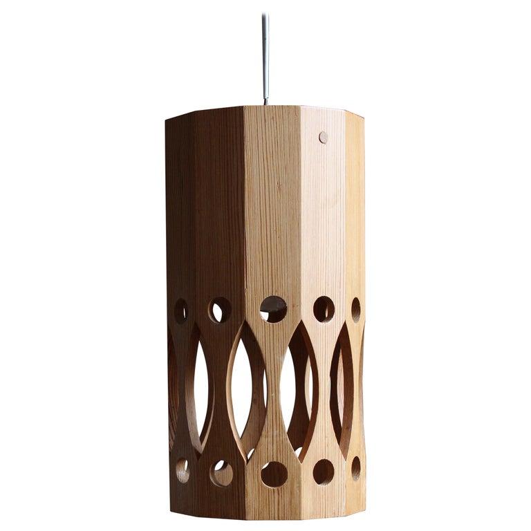 L.O. Nilsson, Pendant Lamp, Solid Pine, Signed, Sweden, 1960s For Sale