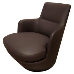 Lo Turn Brown Leather Swivel Armchair, by Niels Bendtsen from Bensen