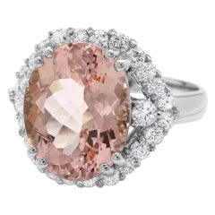 7.15 Carats Exquisite Natural Morganite and Diamond 14K Solid White Gold Ring