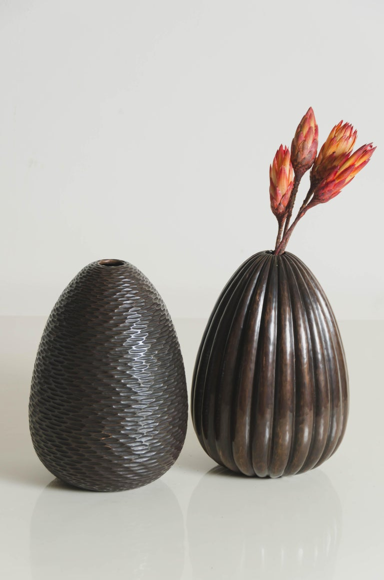 Contemporary Lobed Vase in Antique Copper by Robert Kuo, Limited Edition For Sale