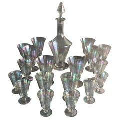 Lobmayer Attributed Iridescent Glass Stemware, Austria, 1920s