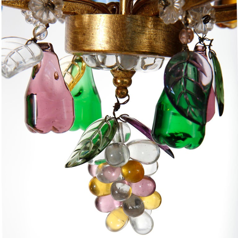 Lobmeyr 'Fruit' Chandelier Pendant Light, Glass Gilt Metal, 1950s For Sale 3