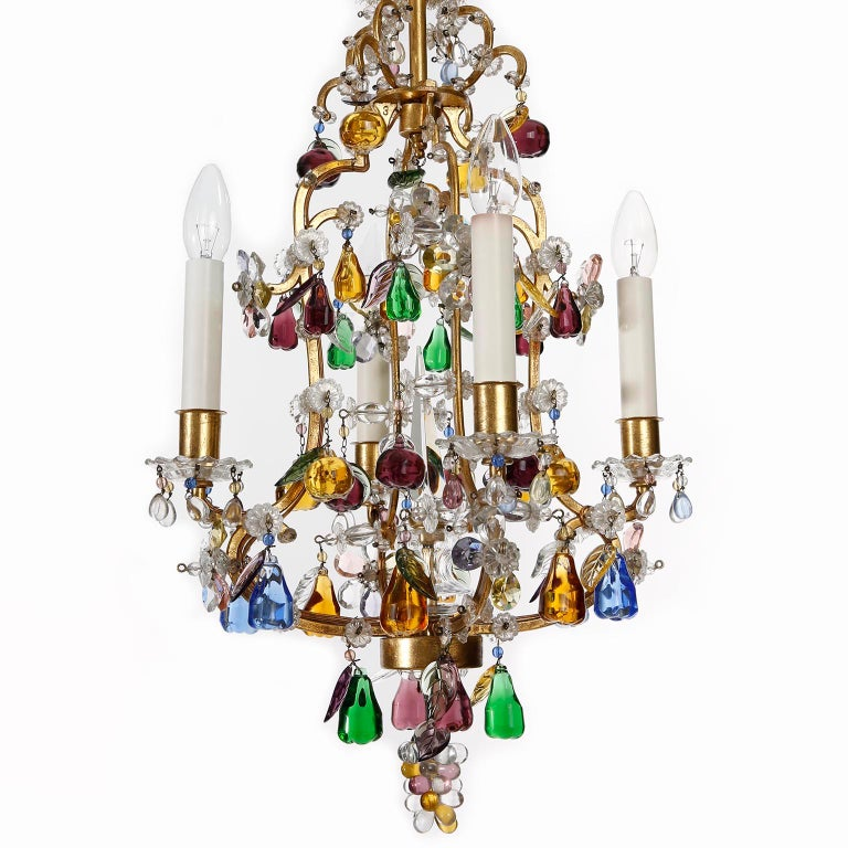 Mid-Century Modern Lobmeyr 'Fruit' Chandelier Pendant Light, Glass Gilt Metal, 1950s For Sale