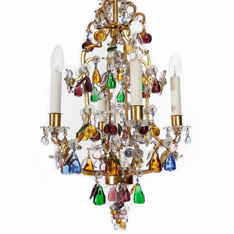 Mid-Century Modern Lobmeyr 'Fruit' Chandelier Pendant Light, Glass Gilt Metal, 1950s For Sale