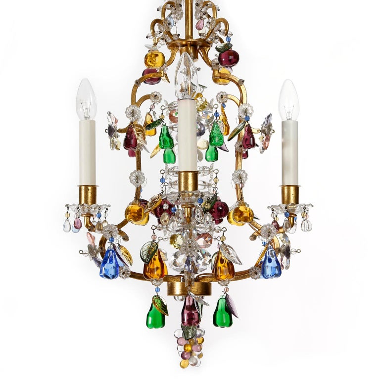 Austrian Lobmeyr 'Fruit' Chandelier Pendant Light, Glass Gilt Metal, 1950s For Sale