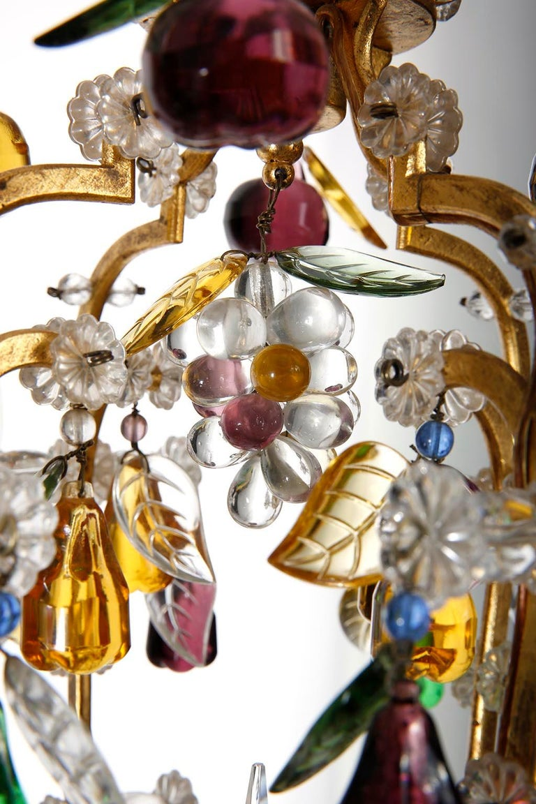 Mid-20th Century Lobmeyr 'Fruit' Chandelier Pendant Light, Glass Gilt Metal, 1950s For Sale