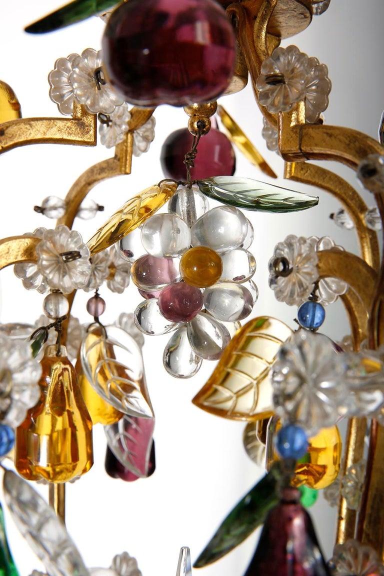 Mid-20th Century Lobmeyr 'Fruit' Chandelier Pendant Light, Glass Gilt Metal, 1950s For Sale