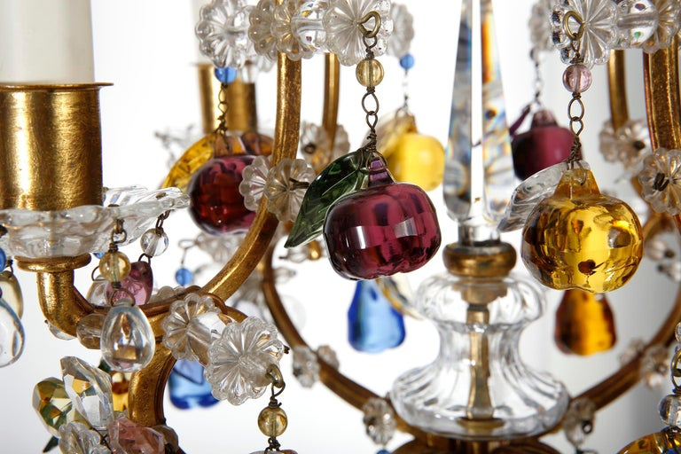 Gold Plate Lobmeyr 'Fruit' Chandelier Pendant Light, Glass Gilt Metal, 1950s For Sale