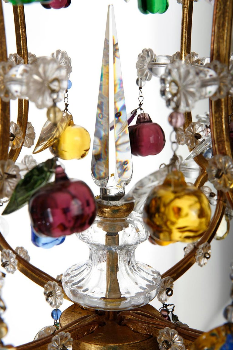 Lobmeyr 'Fruit' Chandelier Pendant Light, Glass Gilt Metal, 1950s For Sale 2