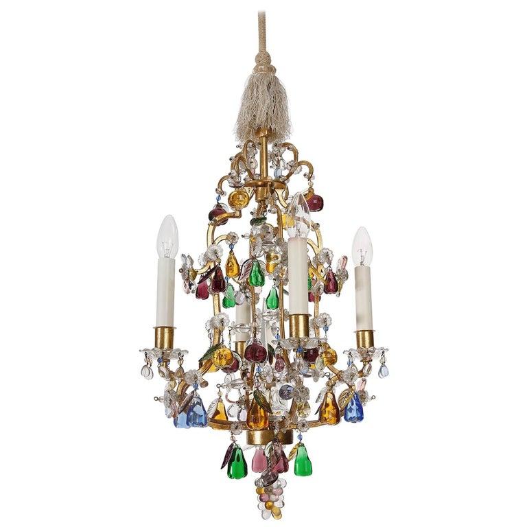 Lobmeyr 'Fruit' Chandelier Pendant Light, Glass Gilt Metal, 1950s For Sale