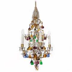 Lobmeyr 'Fruit' Chandelier Pendant Light, Glass Gilt Metal, 1950s