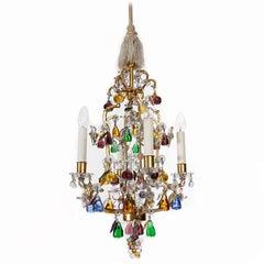 "Lobmeyr ""Frucht"" Kronleuchter Pendelleuchte, vergoldetem Metall Glas, 1950er Jahre"