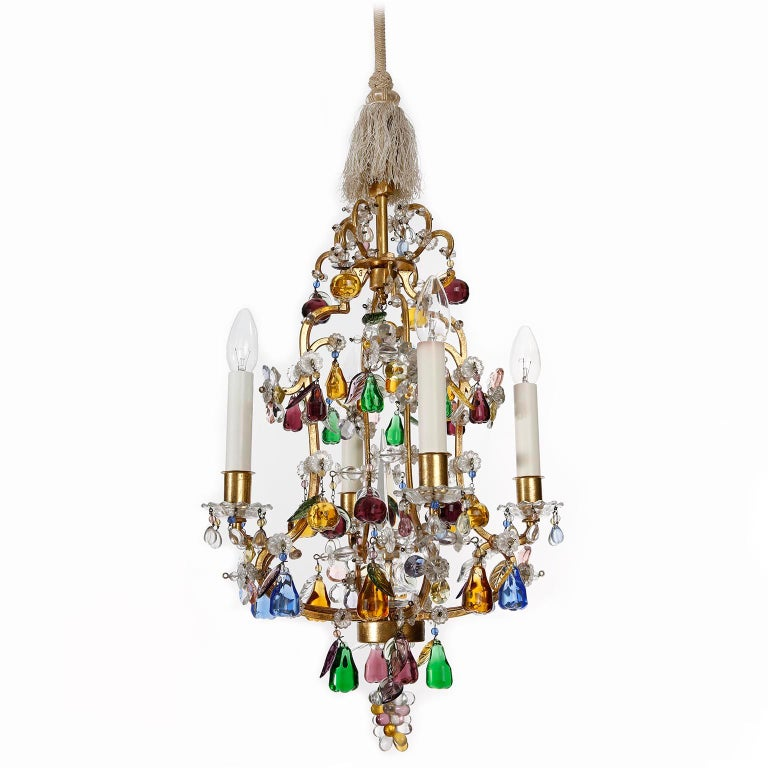 Lobmeyr 'Fruit' Chandelier Pendant Light, Glass Gilt Metal, 1950s For Sale